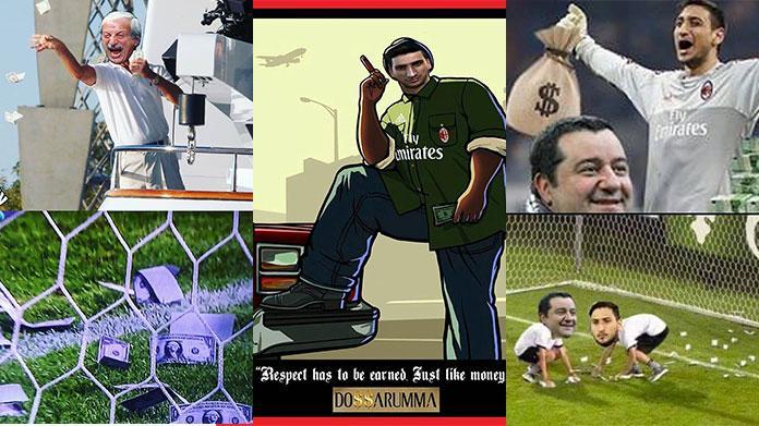 donnarumma raiola meme fotomontaggi