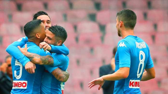 Napoli-Sassuolo 2-1 al 45′, Insigne risponde a Falcinelli