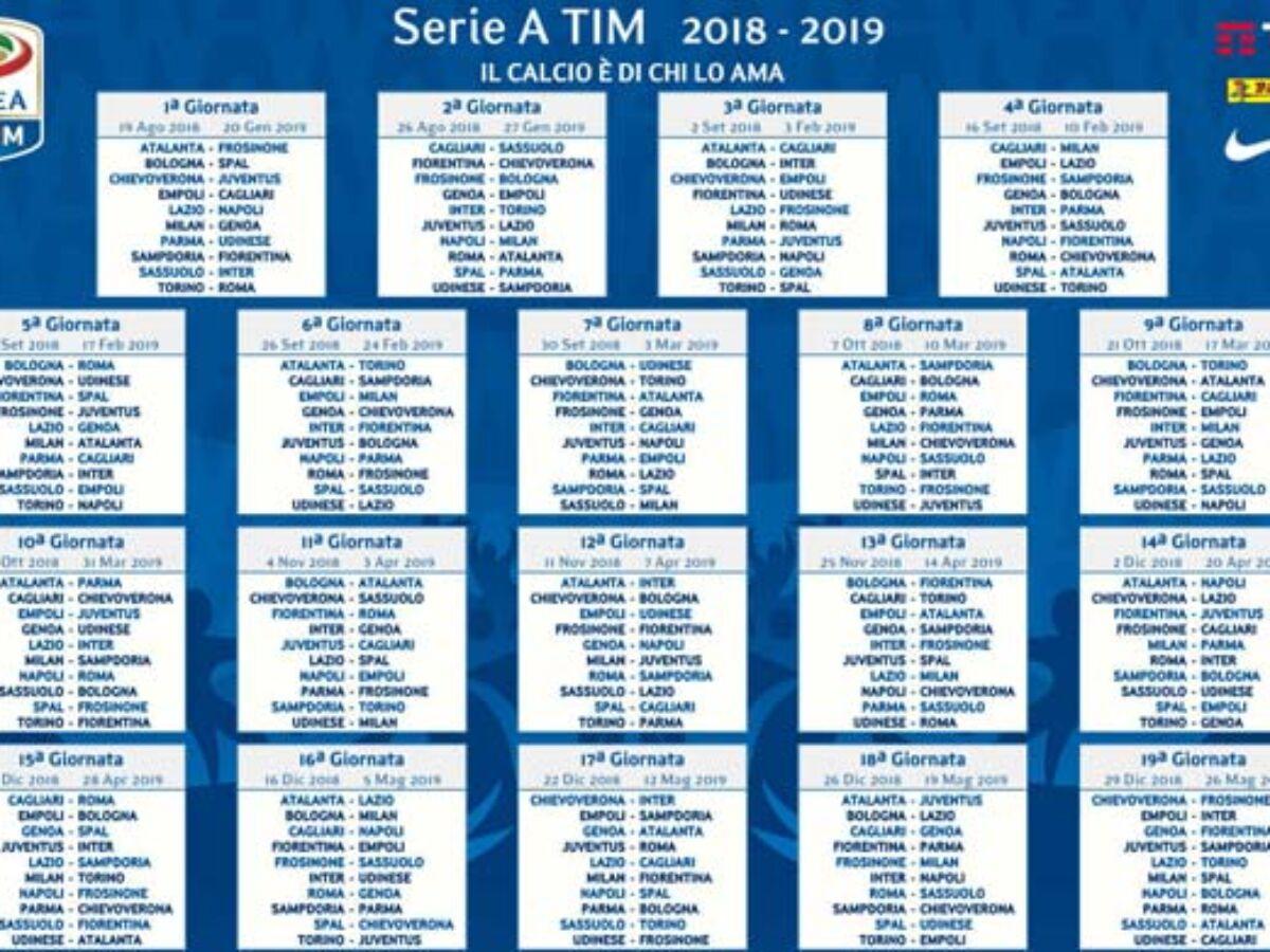 Calendario Serie A 2018 2019 Pdf Da Stampare
