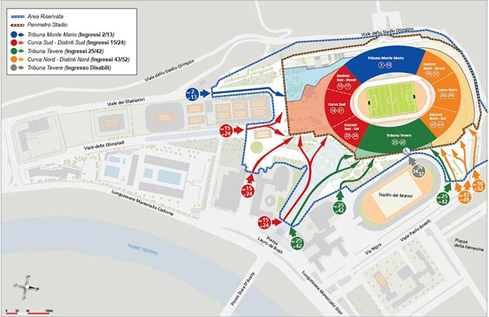 stadio olimpico ingressi gate cancelli mappa