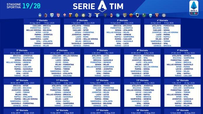 Calendario Serie A 11 Giornata.Calendario Serie A 2019 2020