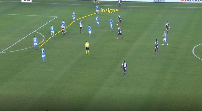Napoli Juventus: il sacrificio di Insigne come quinto a sini