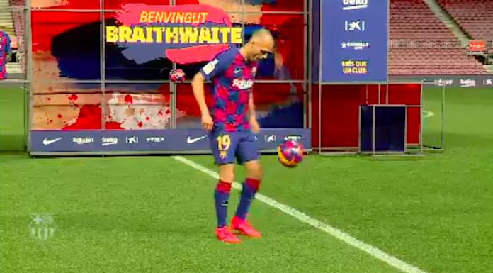 Barcellona, primi palleggi al Camp Nou per Braithwaite – VID