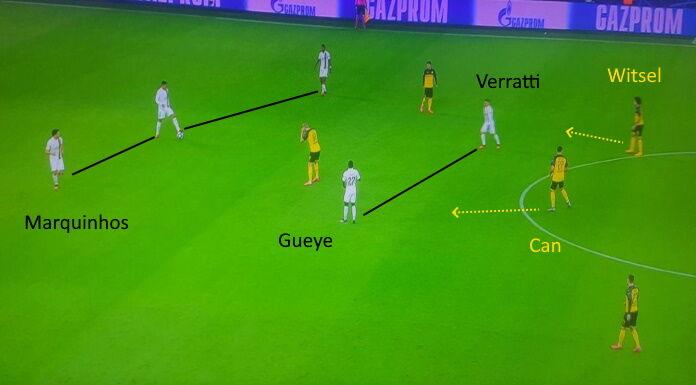 PSG: Marquinhos fa il difensore contro il Borussia Dortmund