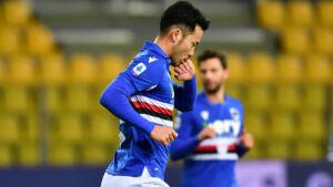 Yoshida esultanza 300x169 - Sampdoria Inter 1-1 LIVE: Skriniar ci prova di testa, pallone sopra la traversa