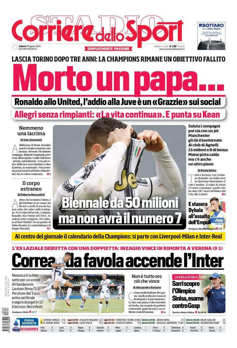 E92mn8wXMAUTQnj - Le prime pagine dei quotidiani sportivi di oggi – 28 agosto