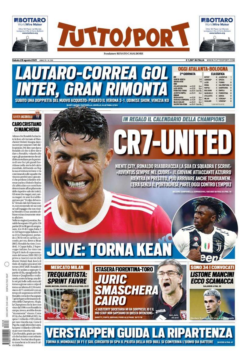E92mo7UXIAMsAkl - Le prime pagine dei quotidiani sportivi di oggi – 28 agosto